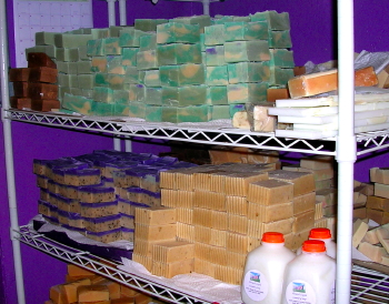 Soaps Curing on Shelves ready for Bulk and Wholesale size orders.
